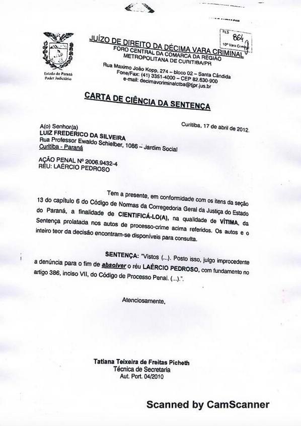 Laércio Pedroso, Certidão Laércio Pedroso, Itaipu Binacional Laércio Pedroso, Laércio Pedroso arquivamento