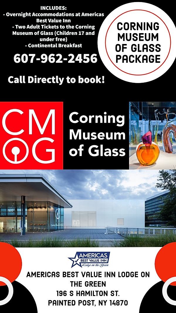 Cmog package includes Two adult tickets for CMOG as well as overnight accommodations to Americas Best Value Inn and continental breakfast.