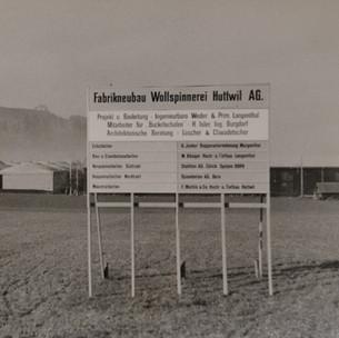 Bau der Wollspinnerei 1958