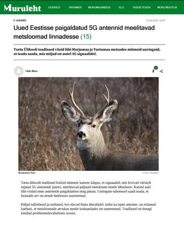 """""""Uued Eestisse paigaldatud 5G antennid meelitavad metsloomad linnadesse"""""""