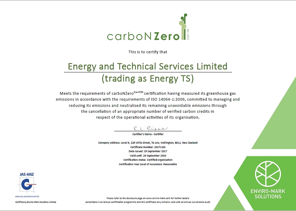 carboNZero certificate EnergyTS
