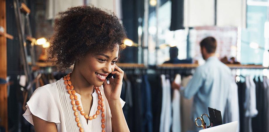 Black woman taking phone call - hemisphere