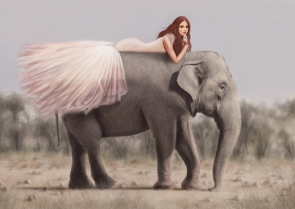 'Elephant Princess' 12x16 Inch Print