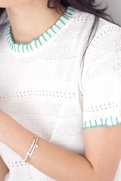 Contrast Stitch Short Sleeves Knit Top