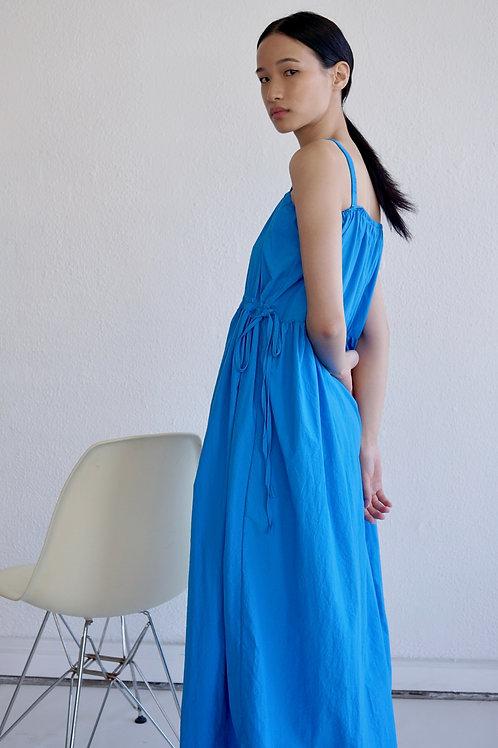Gathered Strap Dress with Drawstring