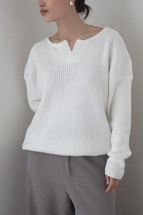 Notch Neck Waffle Knit Sweater