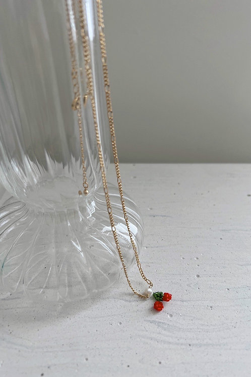 Cherry Necklace with 18K Gold Plated Chain