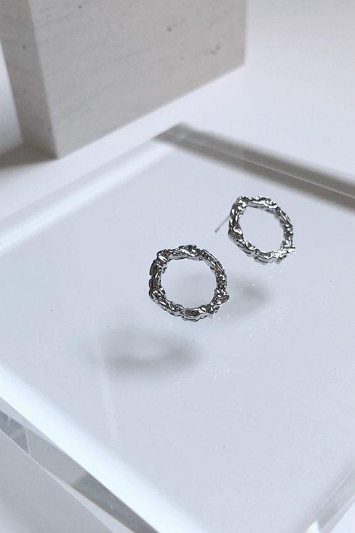 Silver Molten Circle Hollow Earrings