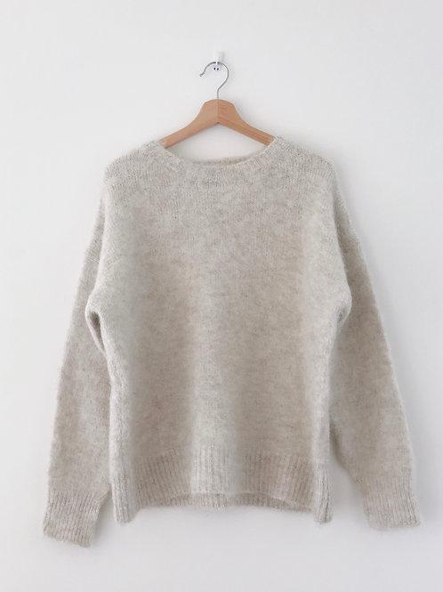 Slit Sleeves Alpaca Wool Sweater