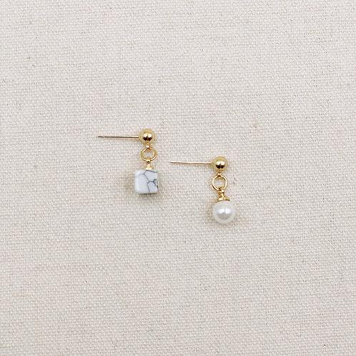 Asymmetrical Marble Cube Pearl Earrings