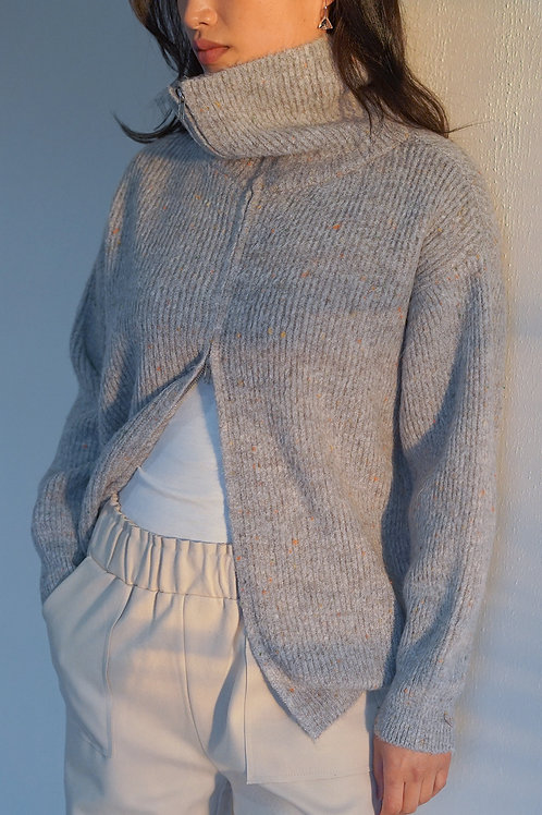 Ribbed Wool-blend Multi Colour Zip Sweater