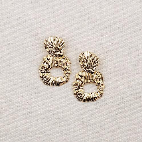 Chunky Textured Rounded Rectangular Earrings