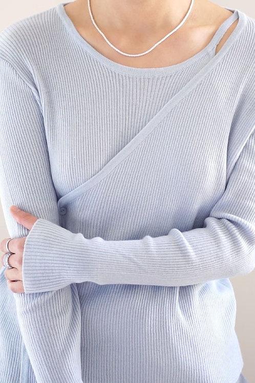 Asymmetric Long Sleeves Knit Top