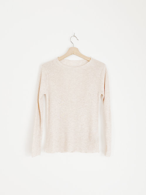 Ruffled Round Neck Knit Top