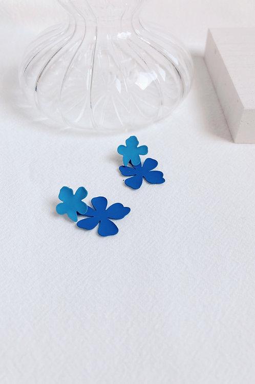 Blue Matte Flower Earrings