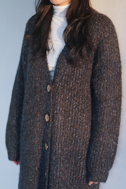 Wool Ribbed Knit Longline Cardigan