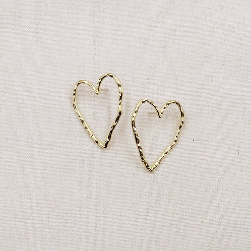 Hollow Heart Textured Earrings