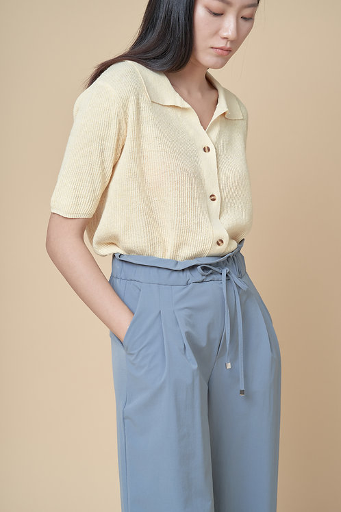 Collar Half Sleeves Knit Top