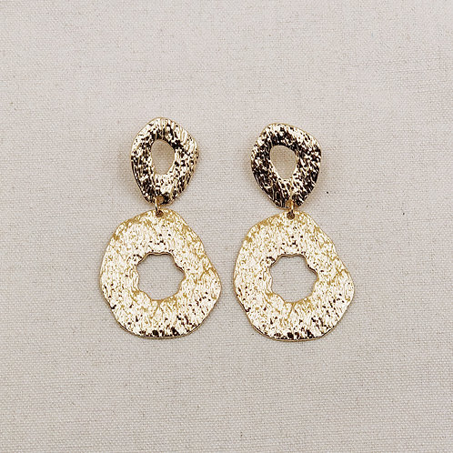 Chunky Textured Hollow Oval Earrings