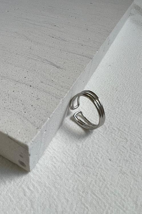 Sterling Silver Triple Line Open Ring