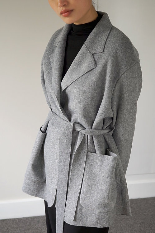 Wool Blend Tie-Waist Coat