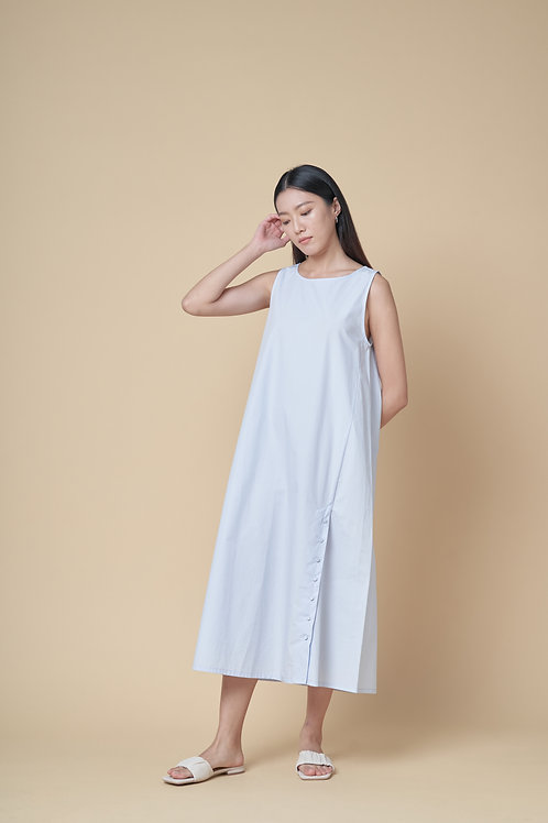 Sleeveless Oversized Dress with Button Detail