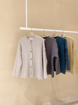 Cable Knit Round Neck Cardigan