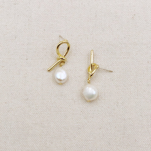 Asymmetric Knot Pearl Earrings