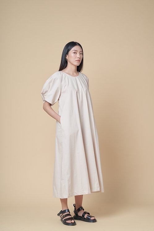 Puff Sleeves Oversized Midi Dress