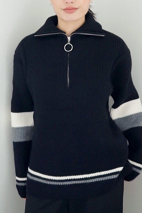 Zipper Collar Knit Sweater