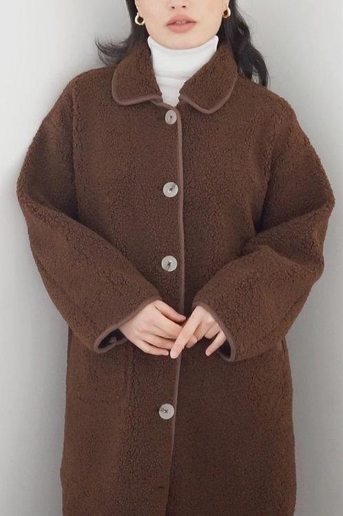 Teddy Fleece Long Button Down Coat