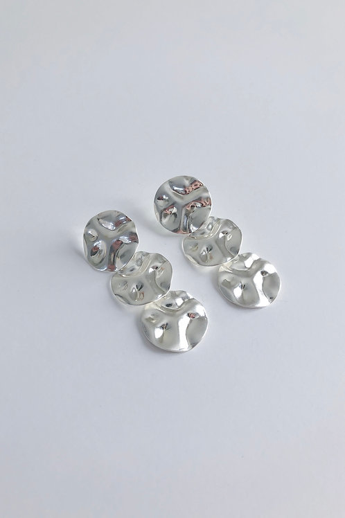 Hammered Silver Discs Earrings