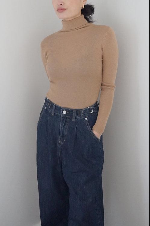 Side-buckle Wide Leg Denim Pants