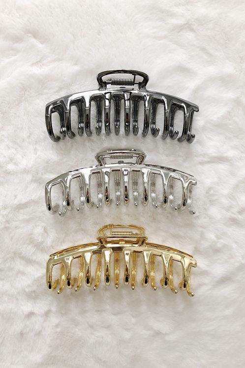 Hair Claw - Shiny Metal Tube