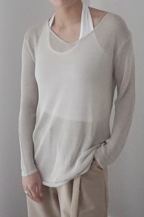 Oversized Mesh Knit Top