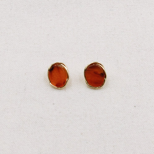 Stone with Gold Rim Stud Earrings