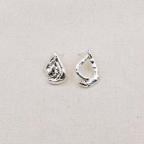 Asymmetric Molten Teardrop Earrings