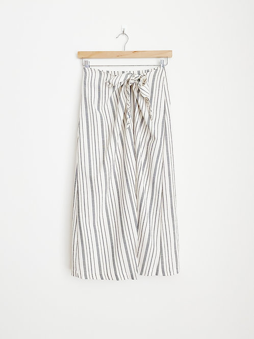 Knot Front Stripe Linen Blend Skirt