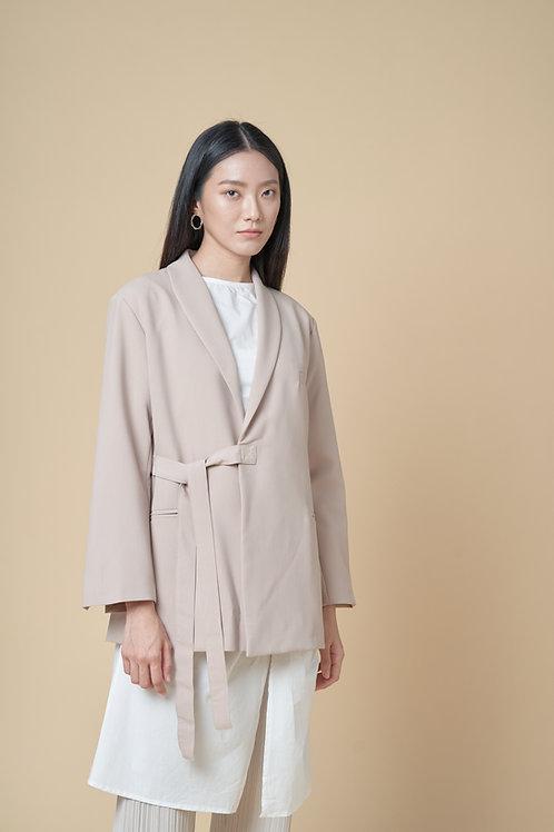 Side-tie Asymmetric Blazer