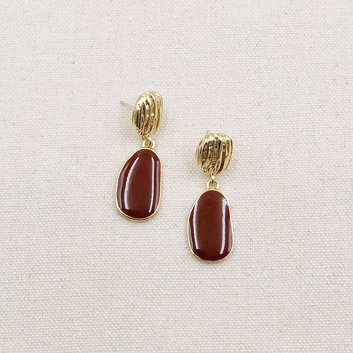 Retro Textured Lacquer Earrings