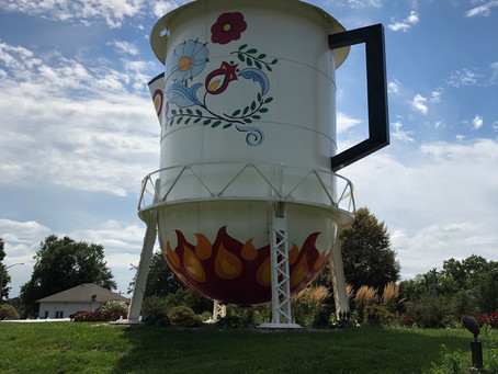 Paying homage to a famous native, Stanton's old water tower is the 'World's Largest Coffee Pot'