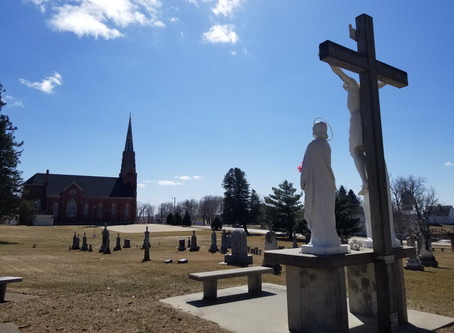 The historic Holy Angels Church in Roselle towers above the rolling hills of Carroll County