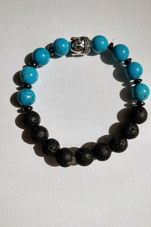 Turquoise,Hematite Spacers and Buddha Essential Oil Diffuser Bracelet