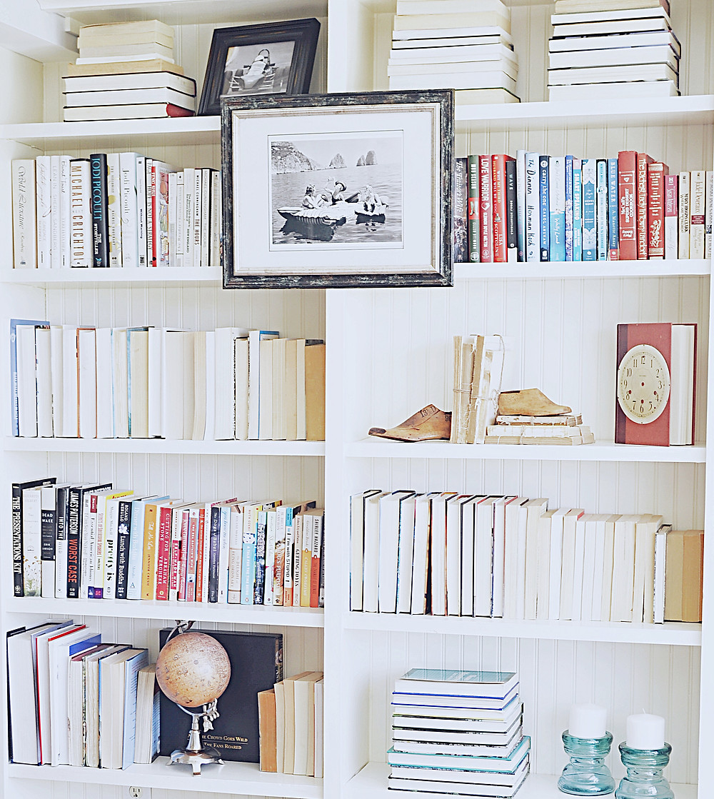 Decorated bookshelves.