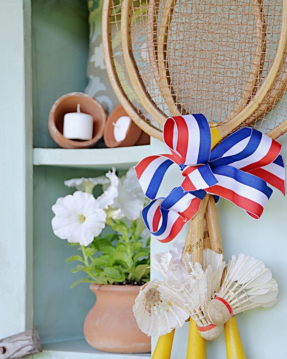 vintage badminton wreath.