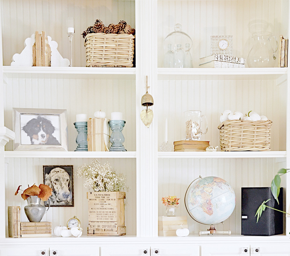 Vintage fall styled shelves.