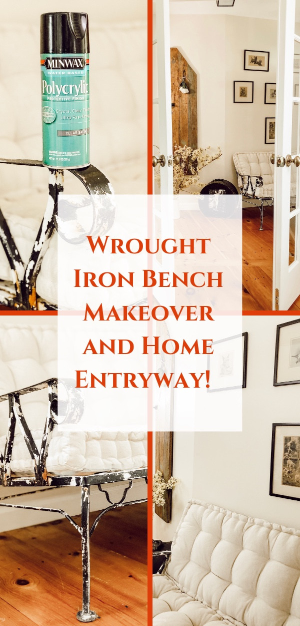 Wrought Iron Bench Makeover and Home Entryway