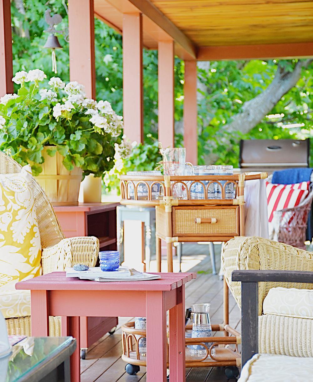 Vintage beverage cart on the porch.