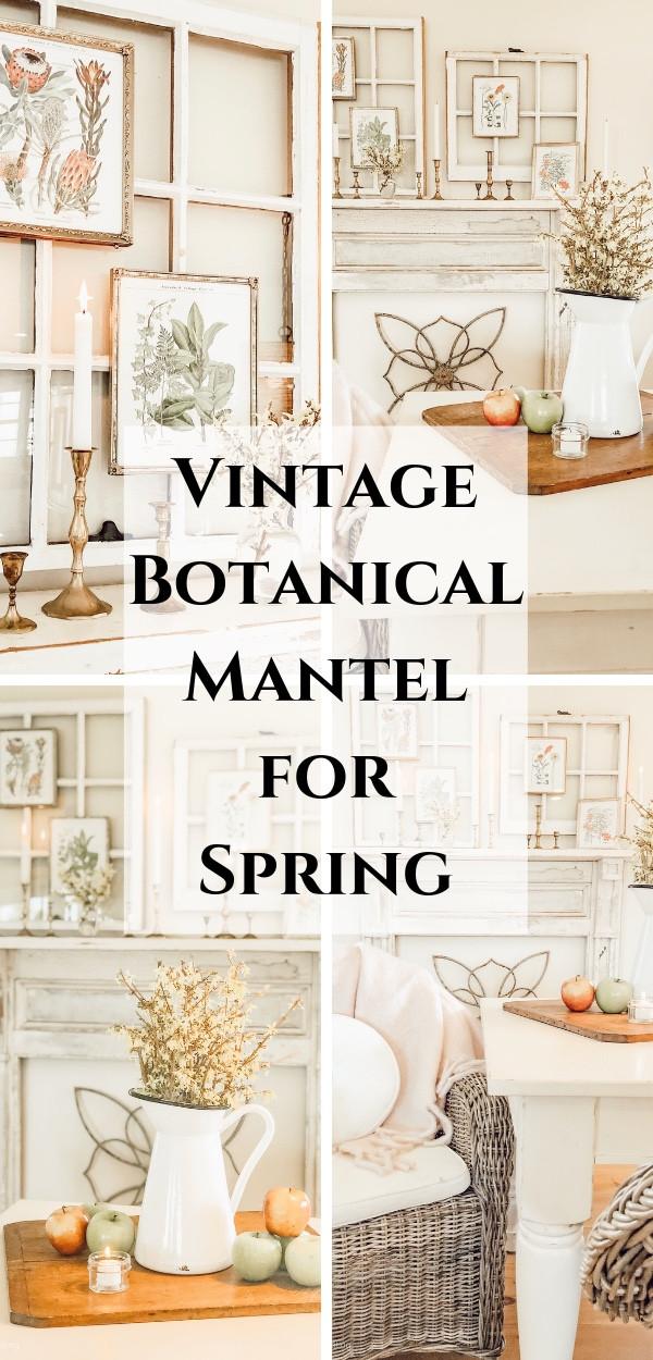 Vintage Botanical Mantel for Spring