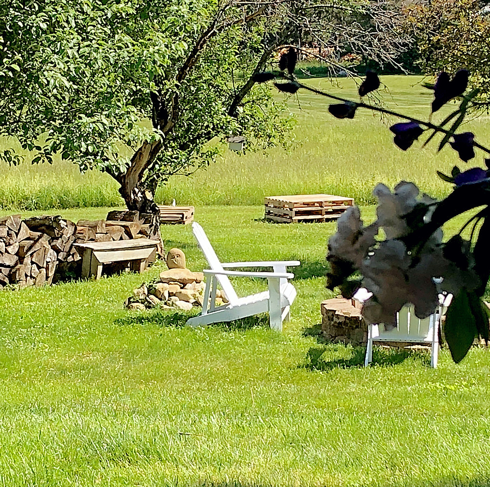 A view of the picnic space with pallets and fire pit.